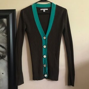 3/25$ brown and green cardigan